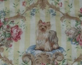 Yorkie Quilt Throw Coverlet Lap Blanket Handmade with a Linen Pictoral panel of a Yorkshire Terrier Dog Custom