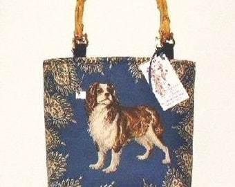 Cavalier King Charles Spaniel  Custom Handbag Tote Purse Dog Picture fabric Panel