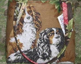 Handbag Cavalier King Charles Spaniel Tote Bag Shoulder straps or Bamboo handles Cocoa Latte