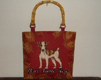 Jack Russell Terrier Handbag Jrt Parson Purse Tote Fabulous Designer Fabric Monogram Included Sks