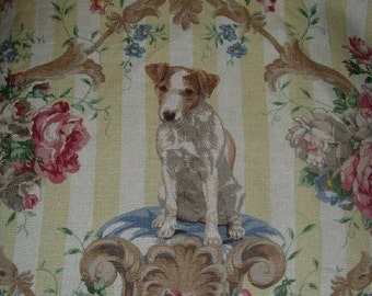 Jrt Jack Russell Terrier Dog Linen Fabric Retired Tote Bag Panel make your own Pillow Handbag any Deco Idea . Ret. for 218 USD per yd