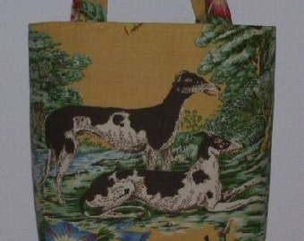 Whippet Greyhound Handbag Dog Purse Tote Spectacular Lee Jofa Linen Fabric A Selene Original
