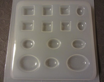 Resin Mold Ovals and Squares 14 count 6 shapes Jewelry Buttons