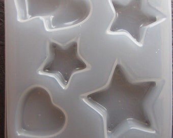 Resin Mold Stars and Hearts Jewelry 45mm 30mm & 25mm