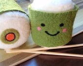 Mr. Sushi - Stuffed Plush Needle Felted Friend, Needle Felted Cute Pillow, Handmade by Val's Art Studio, Popular Teen gift, plush food toy