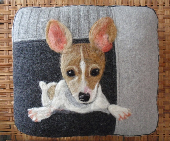 Taking NO RUSH Custom Orders -Personalized Needle Felted Pet Pillows made from Recycled Sweater Fabric - Custom Dog or Cat Wool Portrait