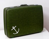 Reserved for ZOE Vintage American Tourister Suitcase with Screen Printed Anchor