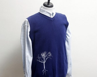 Men's Sweater Vest / Upcycled Vest with Screen Printed Tree / Size XL