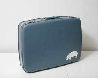 Big Vintage Suitcase with Hand Painted Hippo