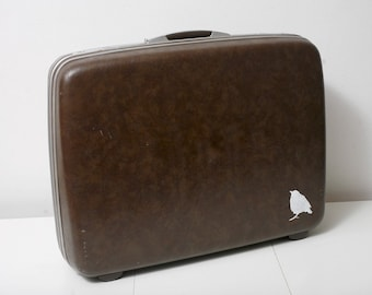 Vintage Faux Snake Samsonite Suitcase with Hand Painted Sparrow
