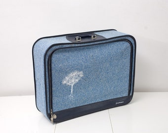Vintage Baby Blue Suitcase With Screen Printed Trees
