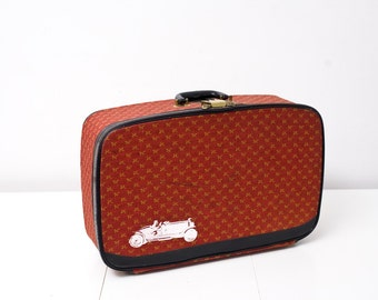 Vintage Red Saks Fifth Avenue Suitcase With Screen Printed Racer