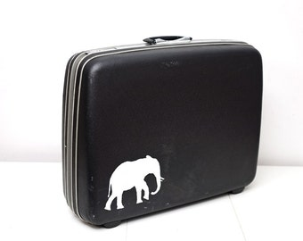 Upcycled XL Samsonite Suitcase with Hand Painted Elephant