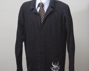 Men's Sweater / Upcycled Slouchy Caridgan with Screen Printed Vinking / Size Medium