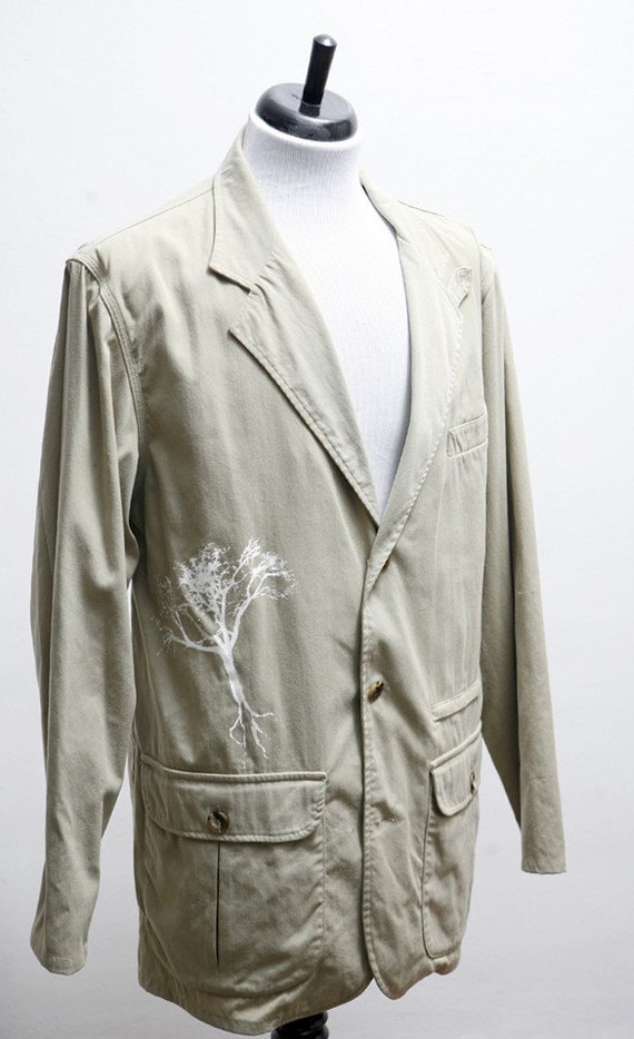 Size 40 Vintage Linen Sport Coat with Screen Printed White Tree