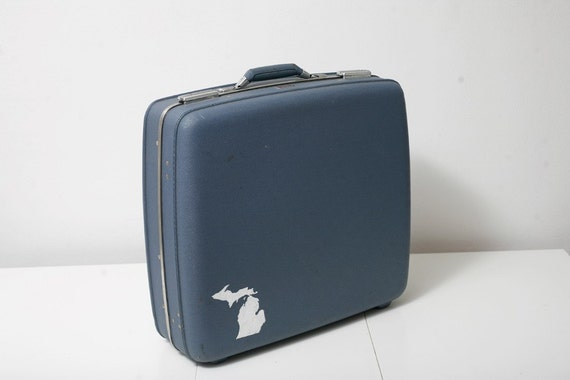Vintage American Tourister Suitcase with Hand Painted Map of Michigan