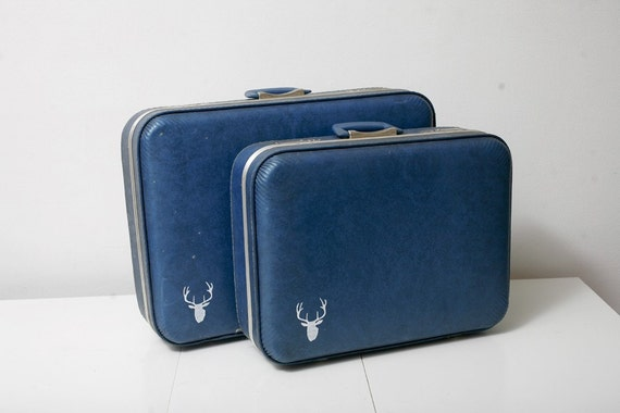 Two Piece Blue Hand Painted Luggage Set