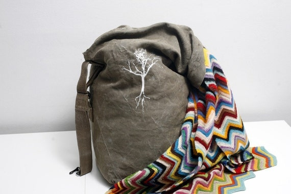 Upcycled Army Surplus Duffel Bag Screen Printed with White Tree