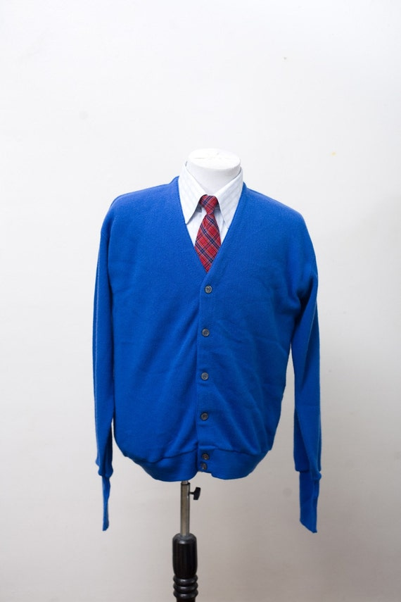 Items similar to Vintage Royal Blue Cardigan Mens Medium on Etsy