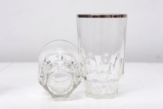 Set of 4 Silver Rimmed High Ball Glasses