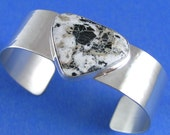 Black and White Cuff Triangular Shaped White Buffalo in Sterling SIlver Cuff Bracelet ON SALE