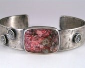 Red Pink and Gray - Field of Flowers Sterling Cuff Bracelet in Crazy Lace Agate and Sterling Silver