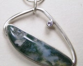 Green Moss Agate with Druzy Pendant in Sterling Silver