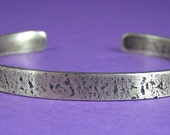 Contemporary Urban Textured Skinny Sterling Silver Cuff Bracelet