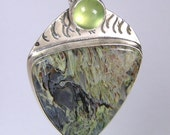Green Moss Agate and Prehnite Pendant in Sterling Silver Handmade