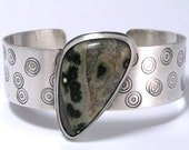 Ocean Jasper Sterling Silver Cuff Bracelet - Green Orbs and Browns with Stamped Circles Handmade