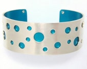 Spotted Dot It Colorful Sterling Silver Cuff Bracelet Colors Include Red Green Turquoise Pink Blue Yellow Purple Brown Gray Black Golden