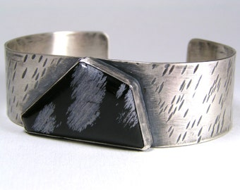 Snowflake Obsidian Black and White Sterling Cuff by Hennessey Jewelry