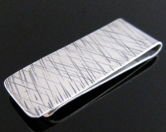 Scattered Crisscross Lines Handmade Sterling Silver Money Clip by Hennessey Jewelry