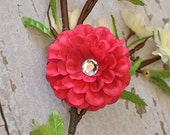 MOLLY hair flower clip HOT PINK SMALL