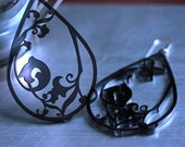 Art Deco Smokey Grey Acryilic Earrings