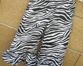 Zebra Ruffle Pants or Capris in custom sizes
