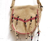 FRINGE tan suede 70s BEADED hearts pouch purse