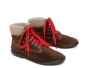 size 6 HIKING brown suede SWEATER cuff RED lace up ankle boots