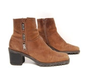 size 7 PLATFORM brown leather 80s 90s SOUTHWEST metal  zip up CHUNKY ankle boots