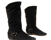 size 8 SLOUCHY black leather MOTORCYCLE biker ITALIAN boots