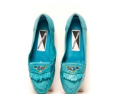 size 8.5 TURQUOISE blue leather 80s MOCCASIN loafers