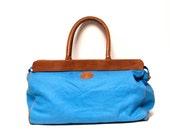 SAILING blue canvas 80s ANCHOR xlarge travel OVERNIGHT bag