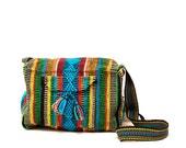 authentic GUATEMALAN turquoise 80s WOVEN purse