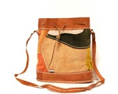 EARTHTONE patchwork leather 70s SOUTHWEST bucket bag
