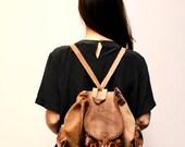 BOHEMIAN brown leather 80s RUCKSACK backpack