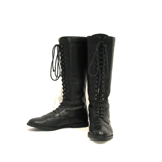 black leather mid calf lace up combat boots size 8