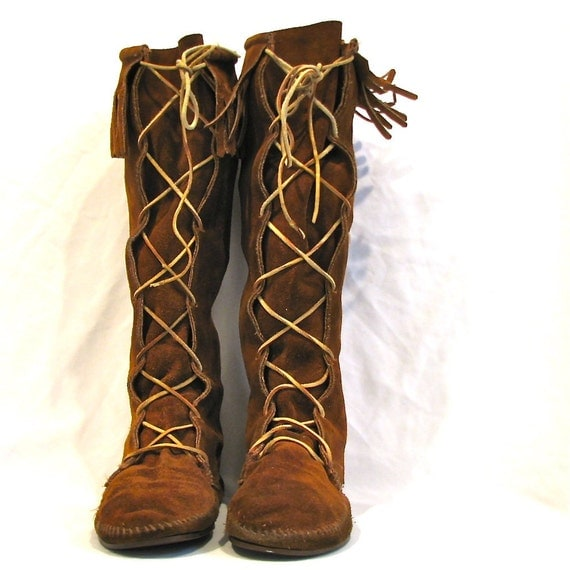 moccasin minnetonka vintage knee high fringe laceup boots