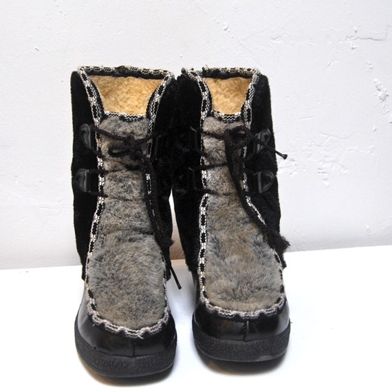 snowland FAUX FUR eskimo LINED lace up ANKLE boots size 9