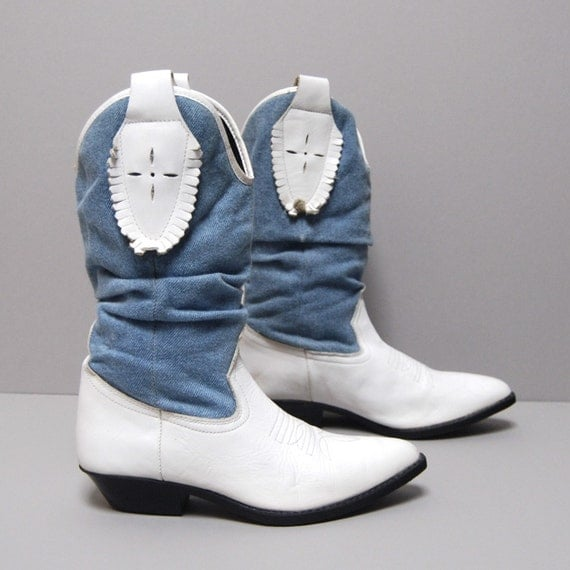 size 7 7.5 DENIM white leather 80s SLOUCHY western boots