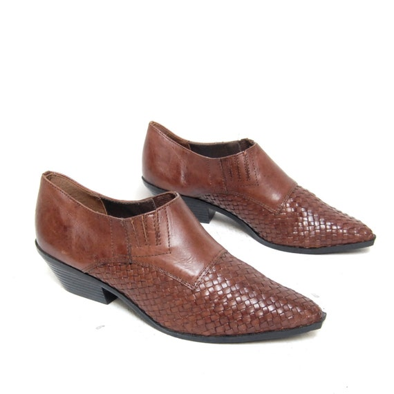 size 6.5 SOUTHWEST brown leather WOVEN slip on ANKLE booties